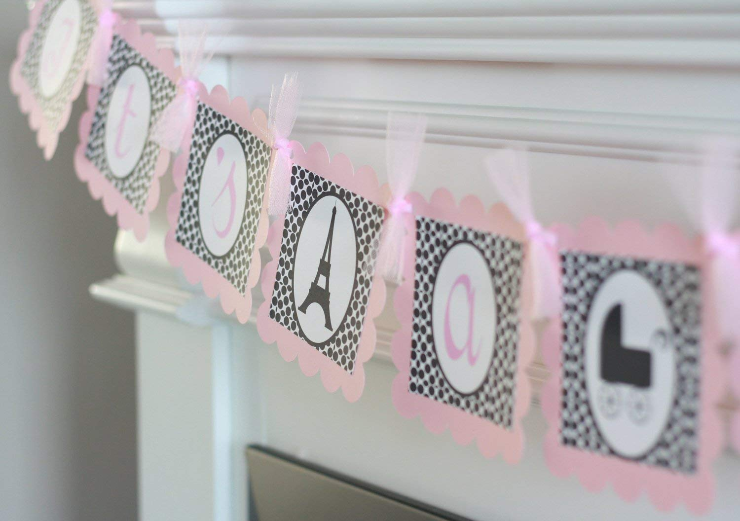 Lavender Purple//Black or Blue//Black Baby ShowerIts A Girl orIts a Boy Banner Party Packages /& Many Matching Items Available Paris Eiffel Tower French Pink//Black