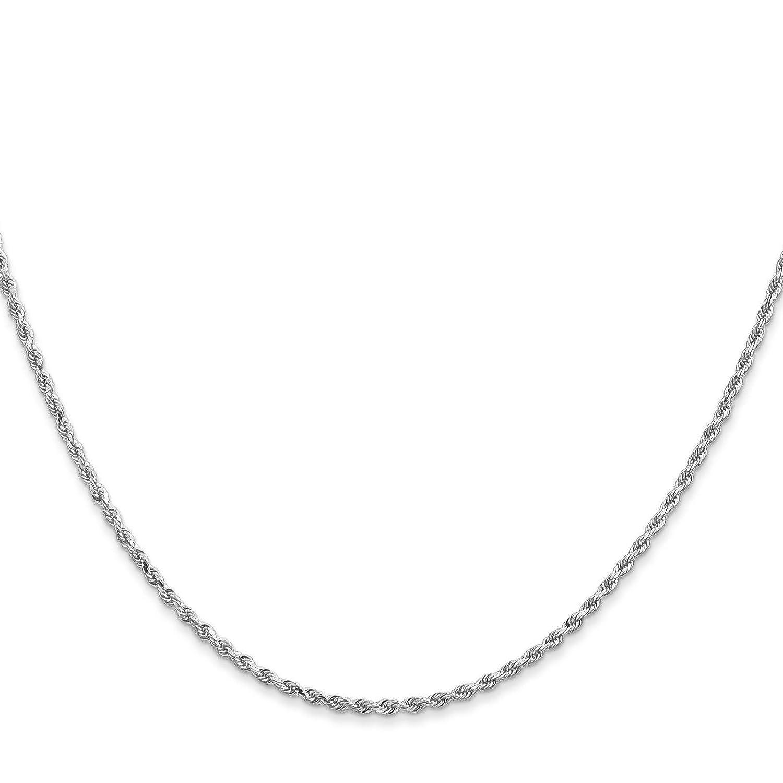 14k White Gold 1.5mm Diamond-Cut Rope Chain Necklace Bracelet Anklet 6-30
