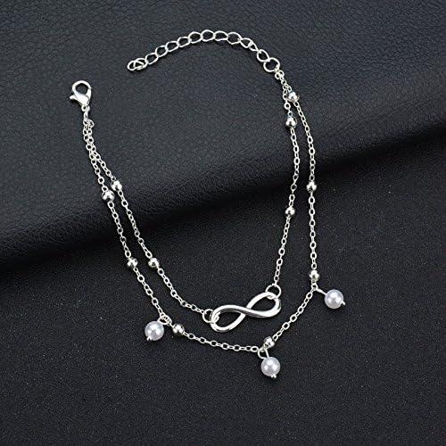 Dusenly Bracelet de cheville pour femme 2 couches Style perle Cha/îne pour sandale de plage pieds nus r/églable 22 cm Dor/é