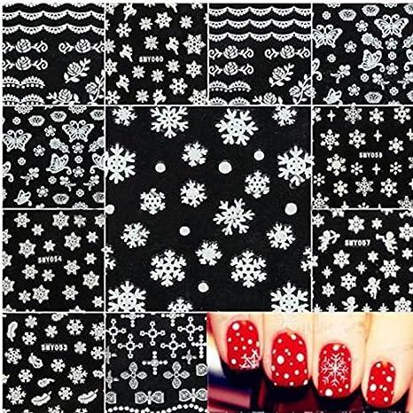 Pauler Vickers New Xmas Christmas 3D Women Nail Art Sticker Decal Tips Decoration Gift (Snowflake)