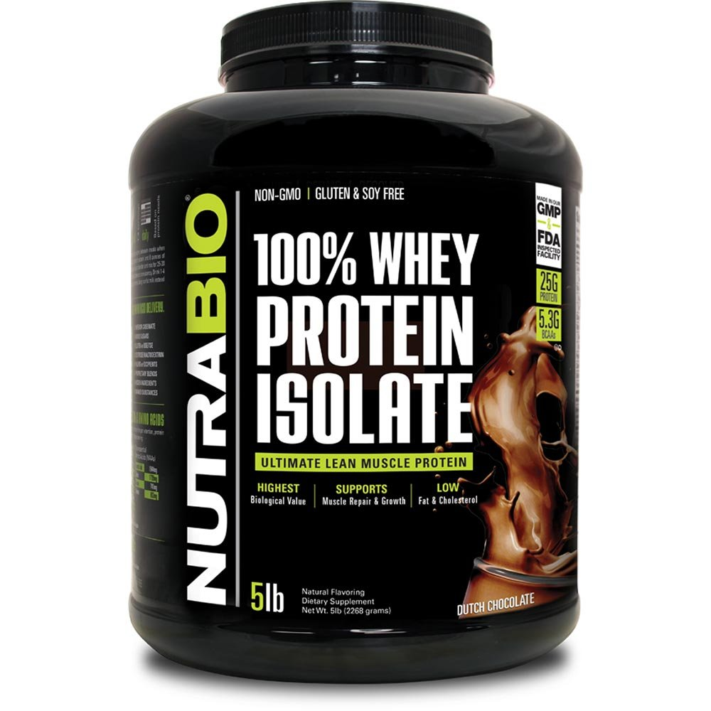 NutraBio 100% Whey Protein Isolate (Chocolate, 5 Pounds) by NutraBio