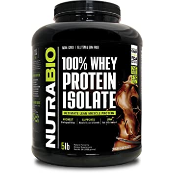 NutraBio 100% Whey Protein Isolate - 5 pounds Dutch Chocolate NO Soy, NO  Whey