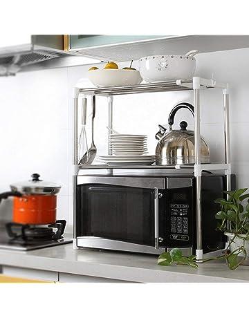 WOYQS portaoggetti da Cucina Cucina Mensola//Microonde Cremagliera//Supporto della Parete//Rack Metallo//Cucina Forniture Bagagli Mensola Evita Il disordine nella Tua Cucina