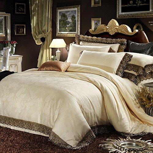 DHWM-Lace bedding, cotton Kung satin jacquard wedding 4 piece, reactive printing bedding ,1.8m