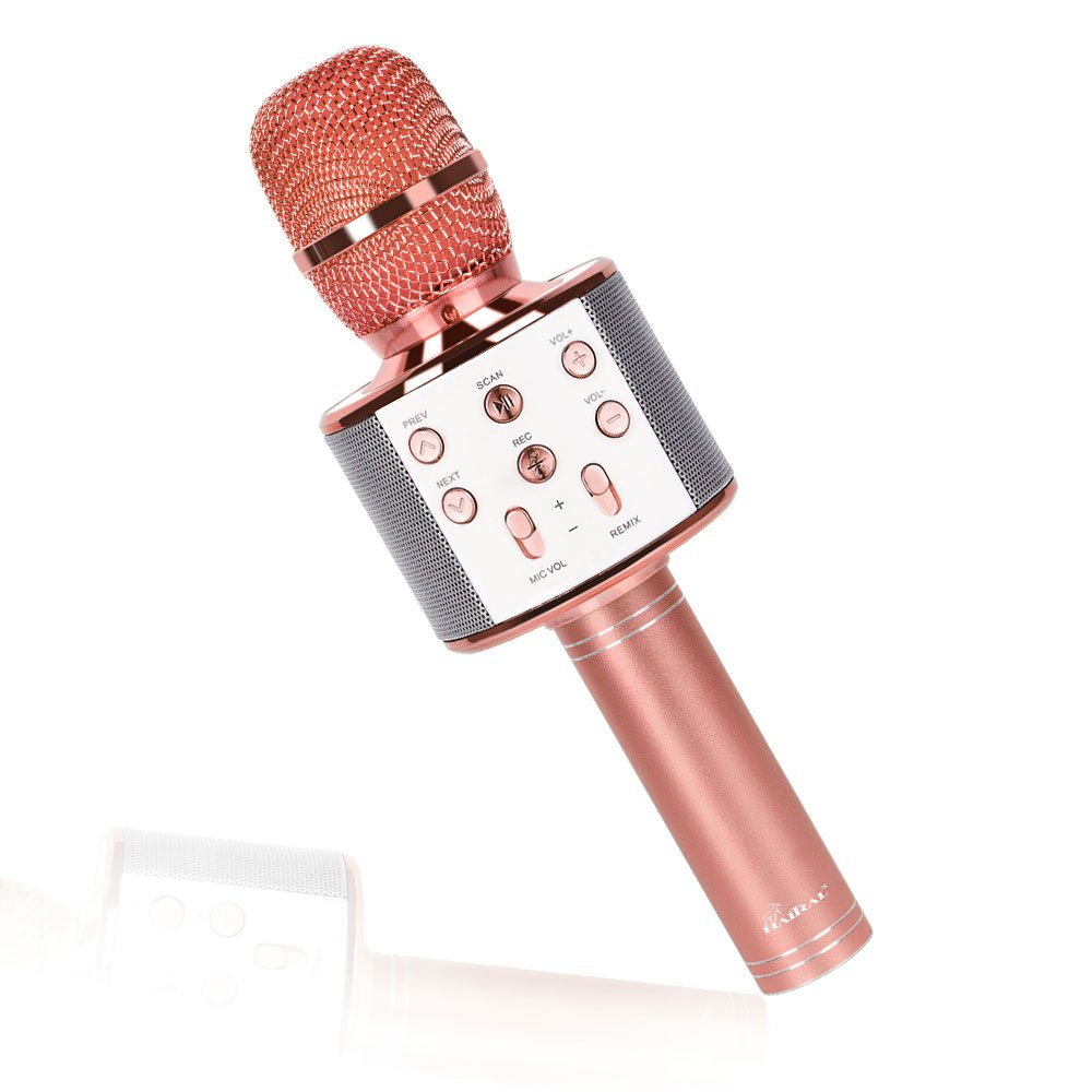 Wireless Karaoke Microphone Portable Bluetooth Microphone Music Equipment Speaker Compatible with Android & IOS (Rose Gold)