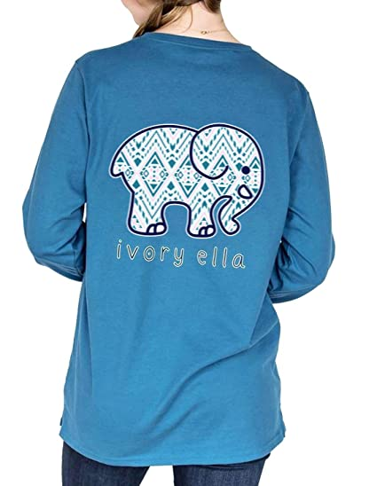 a19091f5a53c55 Womens Cute Elephant Printed T Shirt Long Sleeve Casual Solid Round Neck  Tees Blouse Tops at Amazon Women s Clothing store