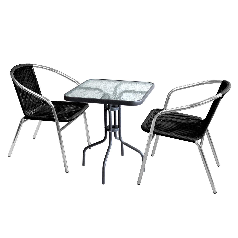 Wohaga 3tlg. Sitzgruppe Glastisch 60x60cm quadratisch + 2X Bistrostuhl, stapelbar, Polyrattanbespannung Schwarz