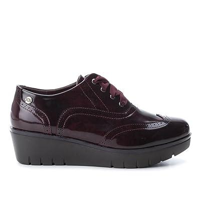 XTI Zapato de Mujer con Cuña con Cierre de Cordones Burdeos: Amazon.es: Zapatos y complementos