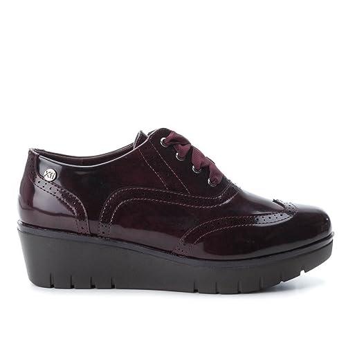 875886711b XTI Zapato de Mujer con Cuña con Cierre de Cordones Burdeos  Amazon.es   Zapatos y complementos