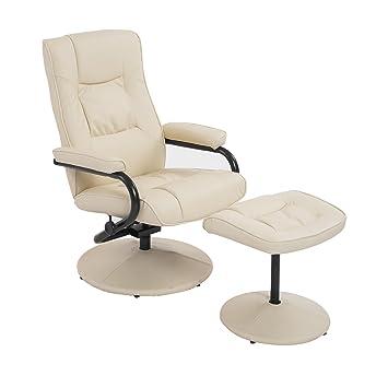 homcom executive recliner chair high back swivel armchair lounge seat w footrest stool cream