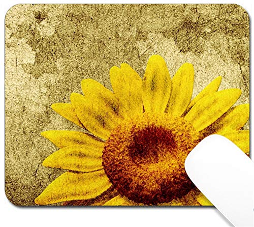 MSD Mouse Pad with Design - Non-Slip Gaming Mouse Pad - Image ID: 14932304 3D Sunflower on Vintage Background