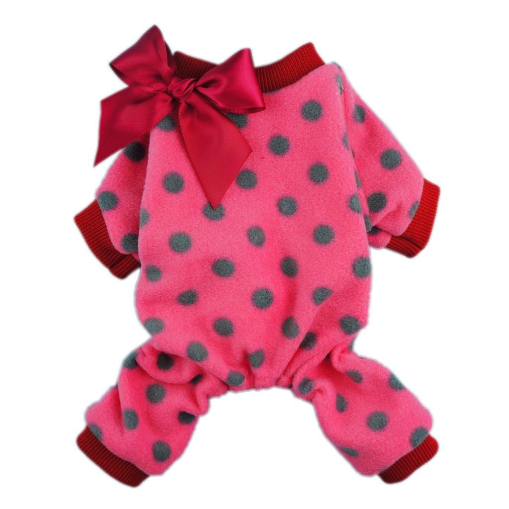 Fitwarm Cute Ribbon Polka Dots Fleece Pet Dog Coats Pajamas Soft Pjs Winter Clothes, Small