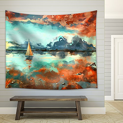 Digital Painting of Boat in the Ocean at Sunset Rastr Stock Llustration Fabric Wall