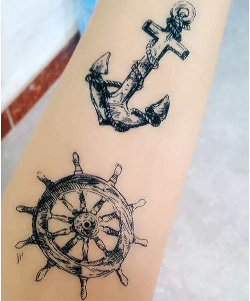 Tatuajes temporales marítimos con ancla y timbre para hombre y ...