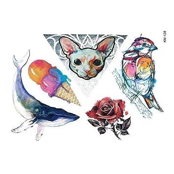 Justfox – Tatuaje temporal, diseño de gato con rosas, huevo ...