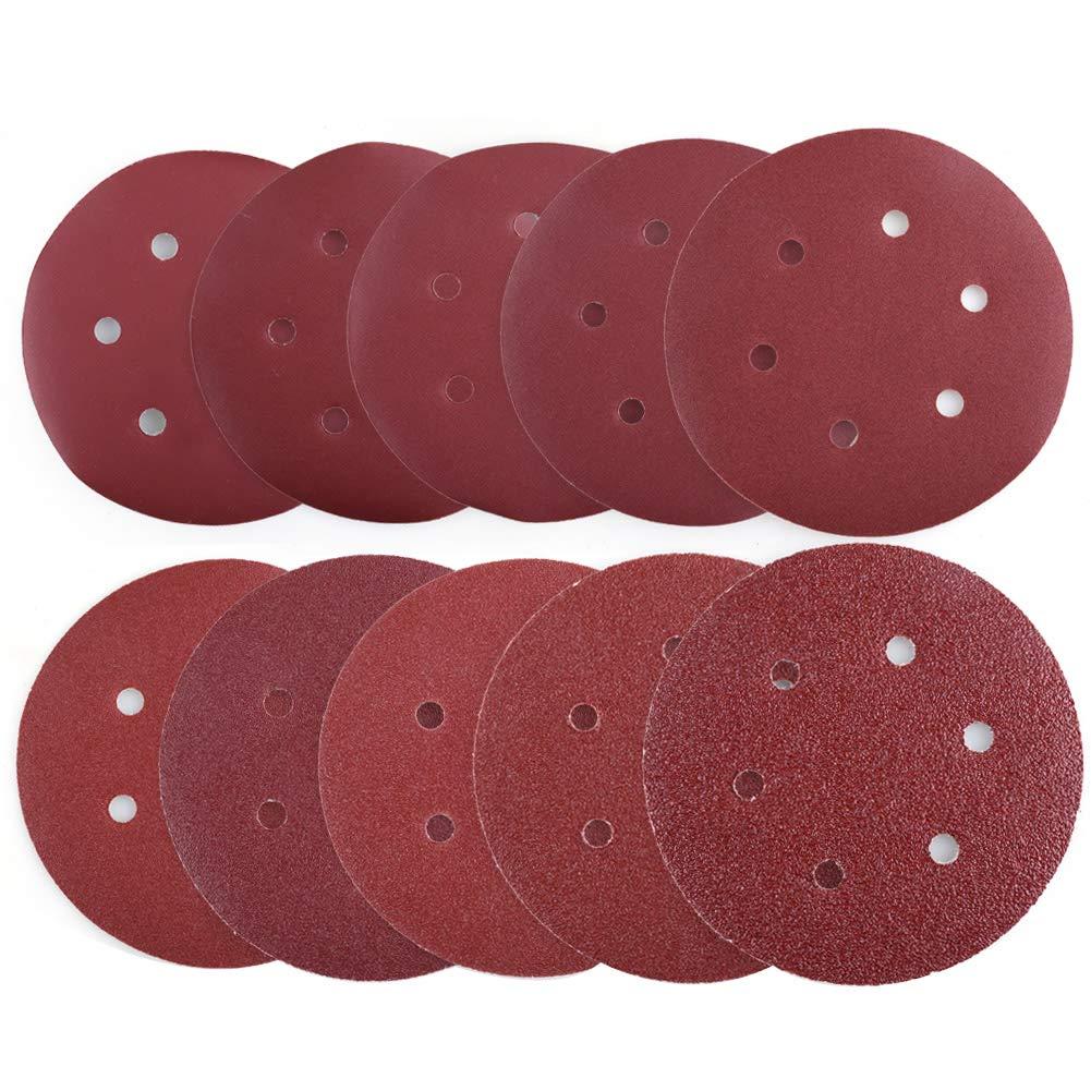 Sanding Disc, 40 60 80 100 120 180 240 320 400 800 Grit Sandpaper Assortment - LotFancy Hook and Loop 6-Inch 6-Hole Orbit Sander Round Paper, Pack of 90