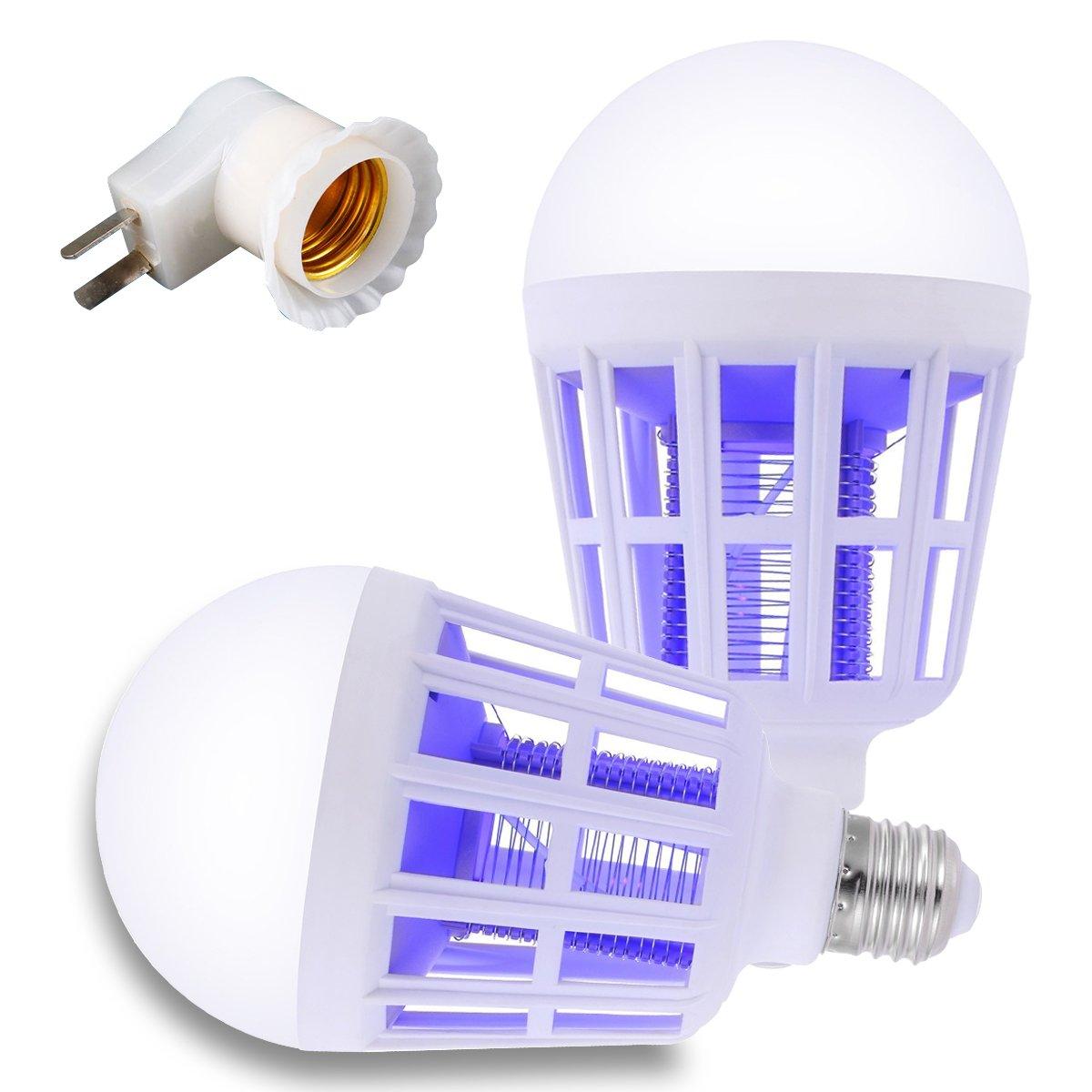 Mosquito Killer Lamp Fits in E26/27 Socket 15W 960LM 110V Bug Zapper Light Bulb Built-in Insect Trap For Indoor 0utdoor Bedroom Garden Balcony 2 Pack