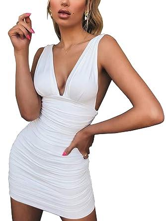 1ed68de82e Bezsoo Women Deep V Neck Backless Ruched Wrap Club Party Summer Bodycon  Mini Dress(White