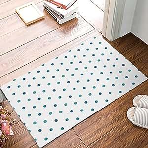 Olivefox Felpudo impermeable para baño, diseño de lunares azules y verdes