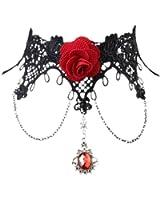Tenflyer Lady Retro Lolita Gothic Lace Tassel False Collar Necklace Choker
