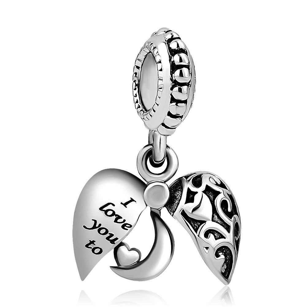 68bbe6843 Uniqueen I Love You To The Moon And Back Heart Charms for Charm Bracelets:  Amazon.co.uk: Jewellery