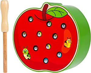 STOBOK Funny Apple Shaped Catch Insects Game Toy Wooden Magnetic Educational Toys for Kids Toddlers
