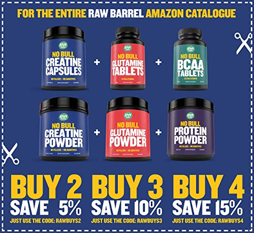 Raw Barrel's Pure L Glutamine Tablets 120 Pills at 1000mg SEE RESULTS OR YOUR MONEY BACK With *FREE* Digital Guide