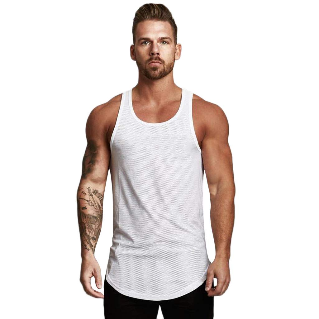Men's Sleeveless Solid Tank Top, Male Mesh Sport Tank Summer Fashion Breathable Bodybuilding Sport T-shirt Top Fitness Vest Clearance