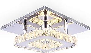 Dixun Modern Mini Led Chandelier Semi Flush Mount Crystal Lighting Ceiling Crystal Lamp for Bedrooms Dinning Rooms Hallway (Warm)