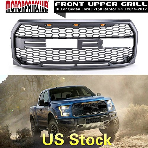 Motorfansclub Front Grill Fits 2015 2017 Ford F150 Raptor Style Grill With Amber Led Front Bumpe Hood Upper Replacement Grille With F R