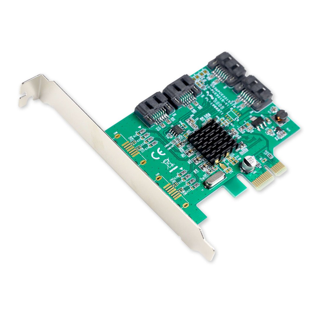 I/O Crest 4 Port SATA III PCI-e 2.0 x1 Controller Card Marvell 9215 Non-Raid with Low Profile Bracket SI-PEX40064 by IO Crest