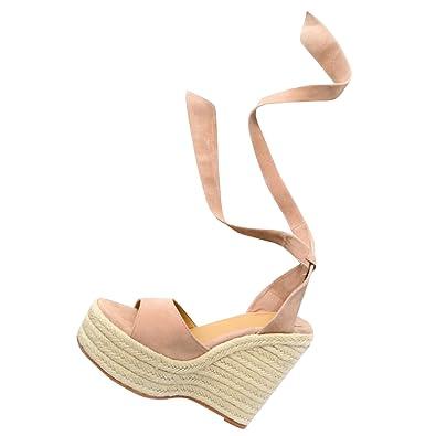 b8e9b73c8a17 Syktkmx Womens Lace Up Platform Wedge Sandals High Heel Peep Toe Slingback  Espadrilles Nude