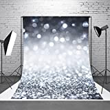 DODOING 5x7ft Silver Glitter Sequin Wall Photography Background Backdrop Shining Glittering Spots Bokeh Halos Sparkle Wedding Party Photo Backdrops Kids Children Studio Props