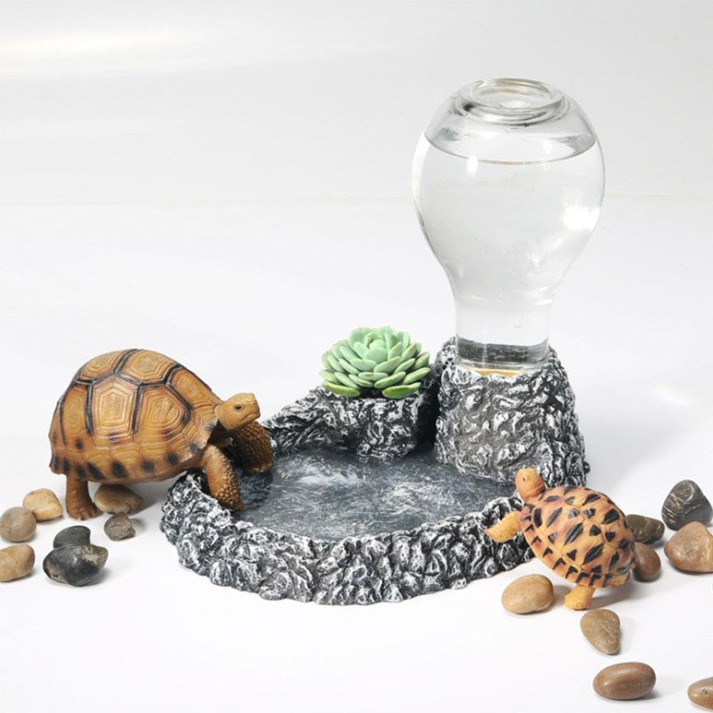 Aolvo Automatique pour Reptile avec de l'eau Plat, Self-Dispensing Gravity Pet Distributeur d'eau, Fontaine à Eau Reptile Piscine Gamelle Bouteille Aquarium Accessoires pour Tortue Lézard Reptile