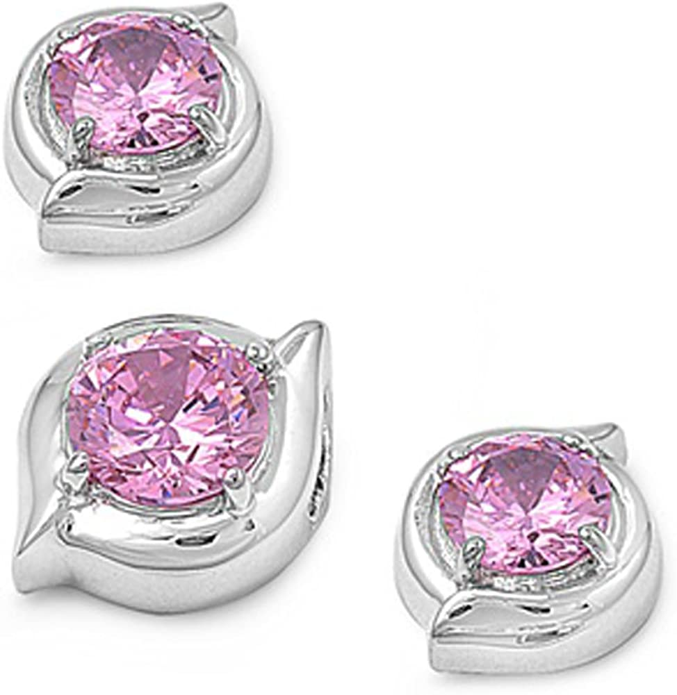 Round Earrings Pink Simulated CZ .925 Sterling Silver Pendant Set