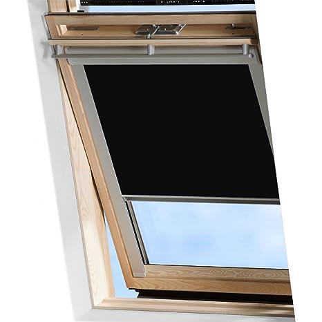 MCTECH Dachfenster Rollo Sonnenschutz Verdunkelung Thermorollo Jalousien Rollos (F06, schwarz)