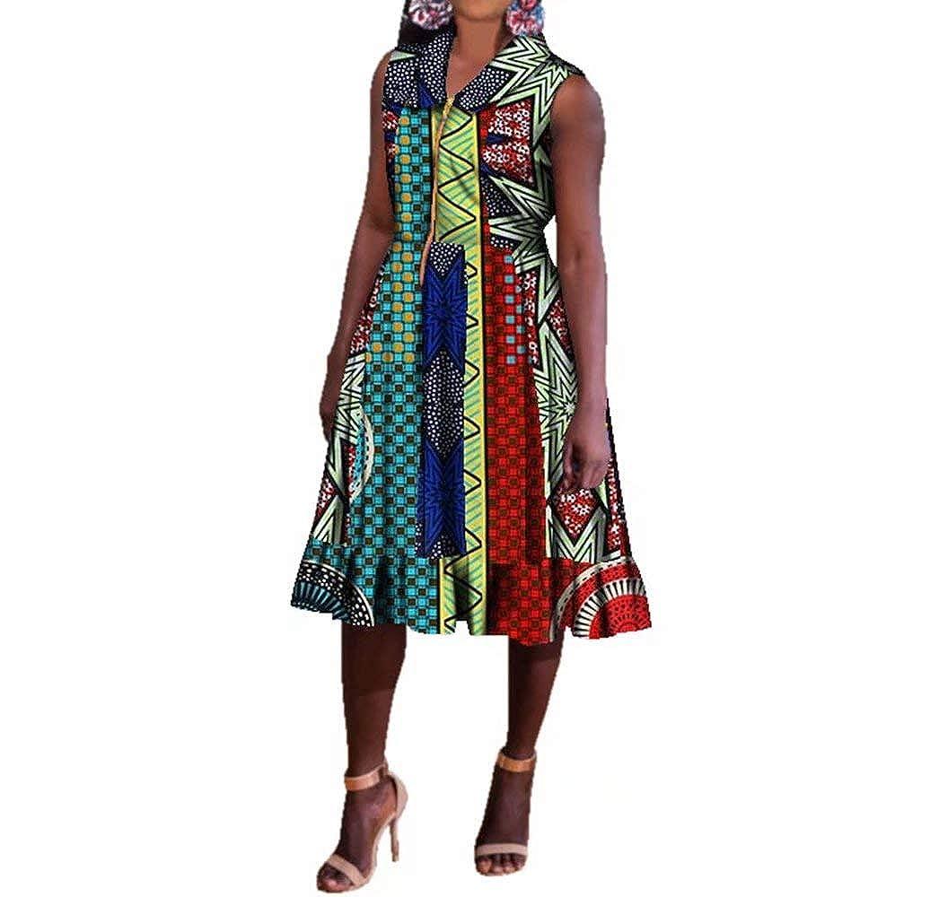 24fs1124 BintaRealWax Womens Casual Sleevelss African Shirt Dress Knee Length Ankara Aline Dress