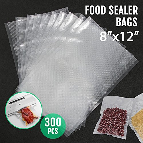 Topeakmart Vacuum Sealer Storage Bags, 300 Quart Bags 8×12 Inch. Commercial Grade Food Sealer Bags for FoodSaver and Sous Vide(BPA Free, FDA Approved)