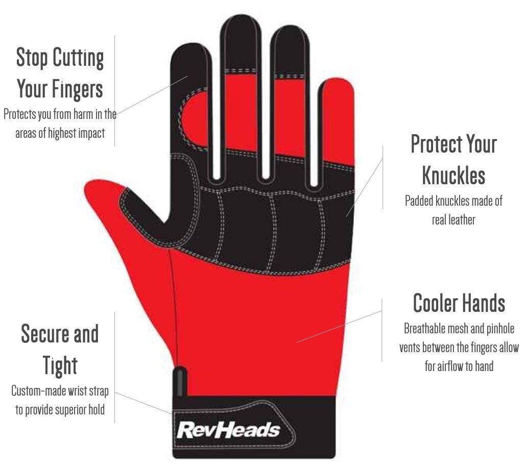 MECHANIC GLOVES For Working On Cars - Work Safety Gloves Protect Fingers And Hands - Large Size Fits Most Men, 1 Pair by RevHeads (Image #2)