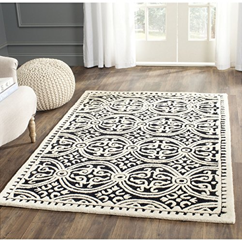 Safavieh Cambridge Collection CAM123E Handcrafted Moroccan Geometric Black and Ivory Premium Wool Area Rug (2'6