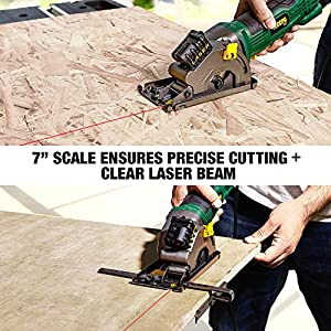 """Circular Saw, TECCPO 3-1/3"""" 3500 RPM Compact Circular Saw with Laser Guide, 3 Saw Blades, Scale Ruler and 4Amp Pure Copper Motor, Ideal for Wood, Tile, Aluminum and Plastic Cuts - TAPS22P"""
