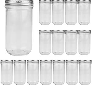 16oz / 500ml Mason Jars Glass Jelly Jars, Canning Jars With Regular Lids, Ideal for Honey,Jam,Baby Foods,Wedding Favors,Shower Favors, 16 Pack
