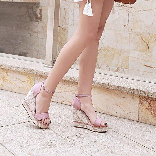 COOLCEPT Mujer Moda Al Tobillo Sandalias Punta Abierta Tacon de Cuna Zapatos Rosado