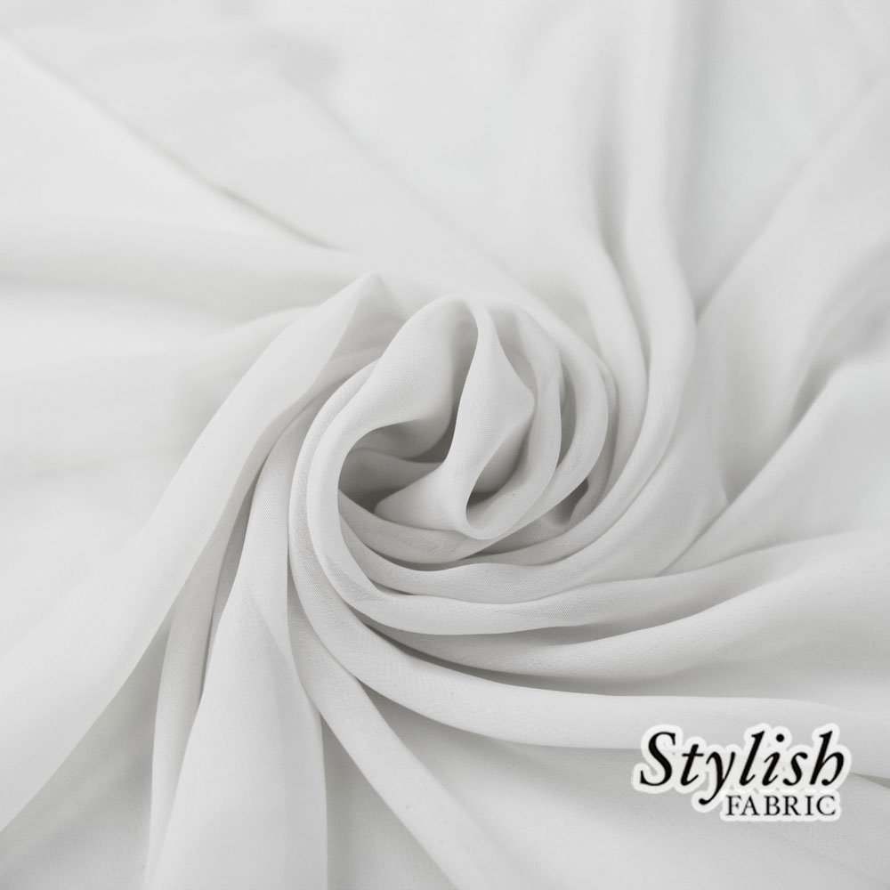 58'' WHITE Solid Color Sheer Chiffon Fabric by the Bolt - 100 Yards (WHOLESALE PRICE)