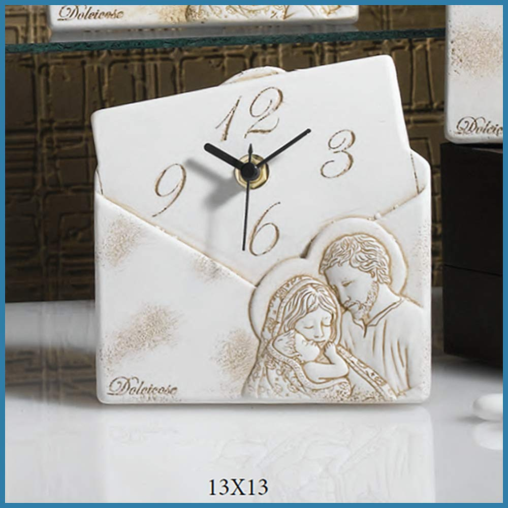 a Forma di Lettera da appoggio Albal/ù Bomboniere Orologio Sacra Famiglia da Tavolo