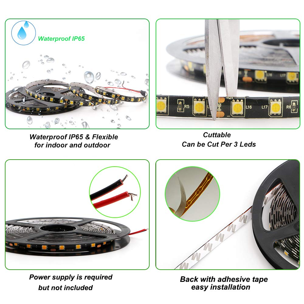 5050 SMD 300LED Waterproof Flexible Light Strip PCB White For Car truck Neon Undercar Lighting Kits Mall booth House decoration Stage music Coloreful lights 16.4Ft EverBright Super Brightness RGB 5M