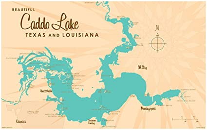 Map Of Texas And Louisiana Border.Amazon Com Caddo Lake Tx Louisiana Map Vintage Style Art Print