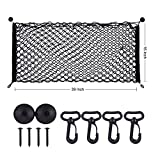 Fahren 39' x 16' Car Rear Trunk Cargo Net Storage Bag Organizer for Cars, Truck, SUVs, Jeep Double Layer Nylon Mesh Net - Black