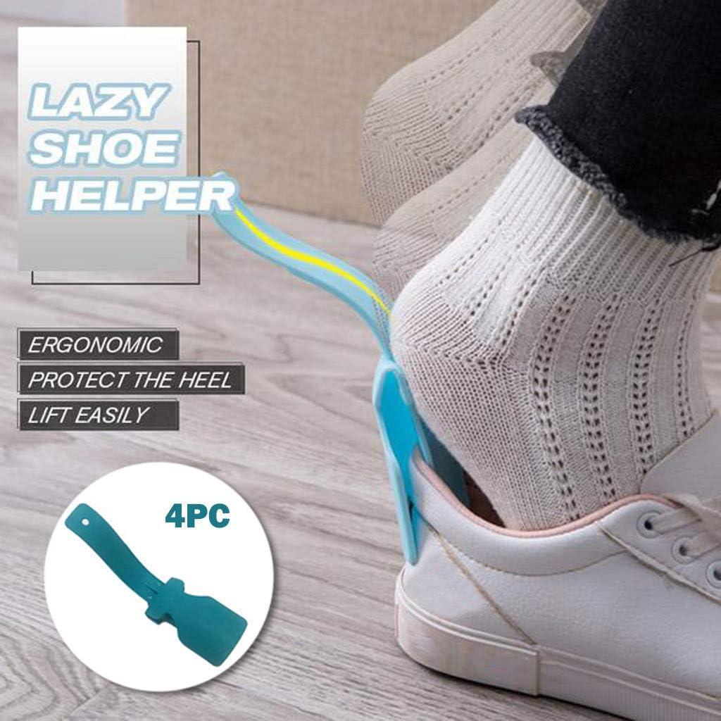 Blue YUBINK Lazy Shoes Helper Shoes Helper Fits for All Shoes (4pcs) Portable Shoe Lifting Helper,Plastic Shoehorn for Men,Women and Kids