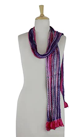 NOVICA Purple And Pink Beaded Crinkle Silk Scarf aa2f2988c3c2